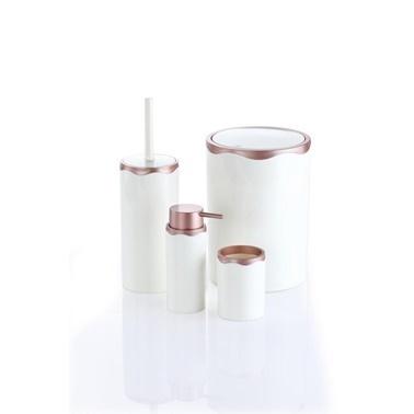 Azra 4 Parça Akrilik Beyaz Mat Bakır Banyo Seti Bakır